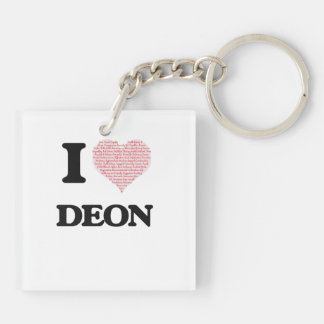 I Love Deon (Heart Made from Love words) Double-Sided Square Acrylic Key Ring