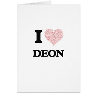I Love Deon (Heart Made from Love words) Greeting Card