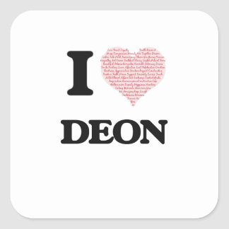 I Love Deon (Heart Made from Love words) Square Sticker