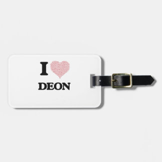 I Love Deon (Heart Made from Love words) Tag For Bags