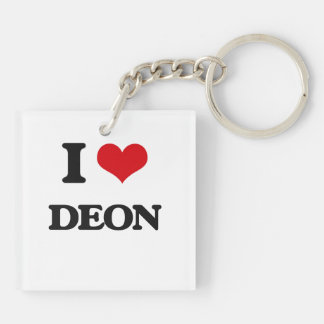 I Love Deon Double-Sided Square Acrylic Key Ring