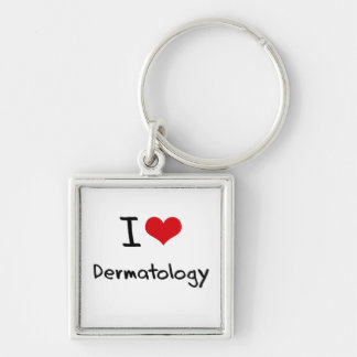 I Love Dermatology Silver-Colored Square Key Ring