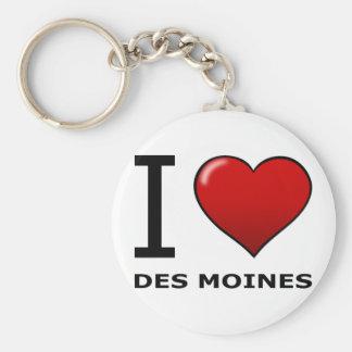 I LOVE DES MOINES,IA - IOWA BASIC ROUND BUTTON KEY RING