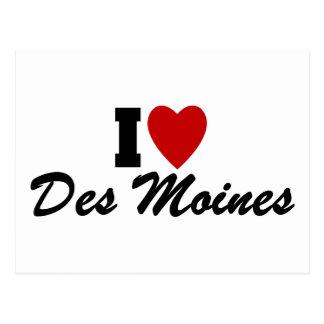 I Love Des Moines Postcard