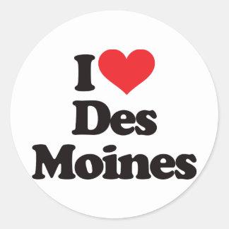 I Love Des Moines Round Sticker