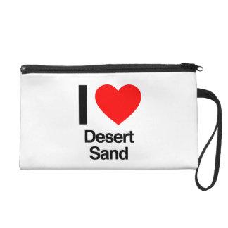 i love desert sand wristlet clutch