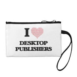 I love Desktop Publishers (Heart made from words) Change Purses