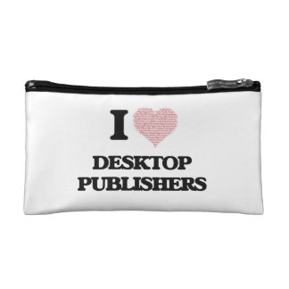 I love Desktop Publishers (Heart made from words) Cosmetic Bag