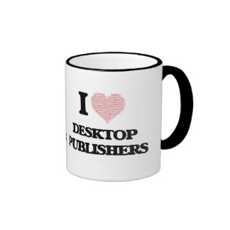 I love Desktop Publishers (Heart made from words) Ringer Mug