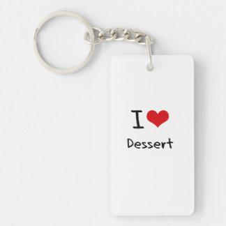 I Love Dessert Double-Sided Rectangular Acrylic Keychain
