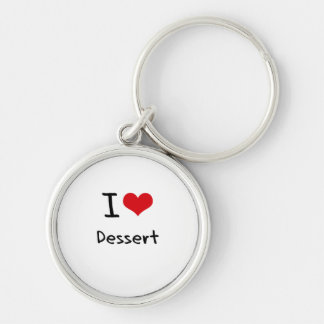 I Love Dessert Silver-Colored Round Key Ring