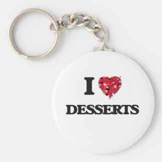 I love Desserts Basic Round Button Key Ring