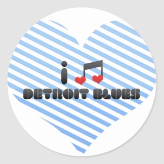 I Love Detroit Blues Round Sticker