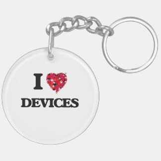 I love Devices Double-Sided Round Acrylic Key Ring