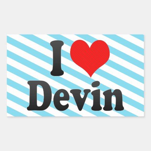 I love Devin Rectangular Sticker