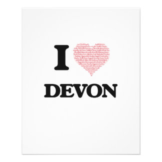 I Love Devon (Heart Made from Love words) 11.5 Cm X 14 Cm Flyer
