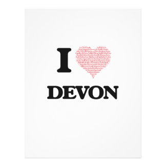 I Love Devon (Heart Made from Love words) 21.5 Cm X 28 Cm Flyer