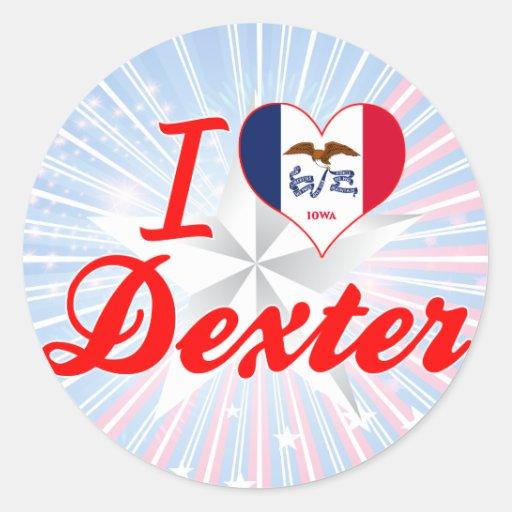 I Love Dexter, Iowa Round Stickers