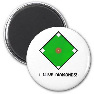 """I Love Diamonds"" Baseball Shirts and Gifts 6 Cm Round Magnet"