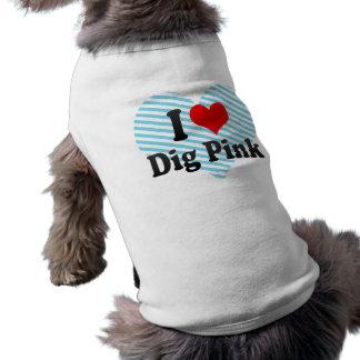 I love Dig Pink Sleeveless Dog Shirt