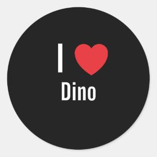 I love Dino Round Sticker