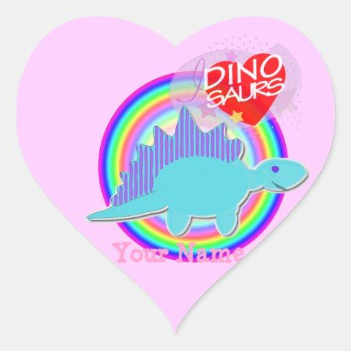 I love Dinosaurs Blue Dino Heart Name Stickers