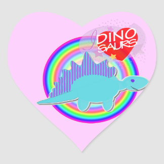 I love Dinosaurs Blue Dino Pink Heart Stickers