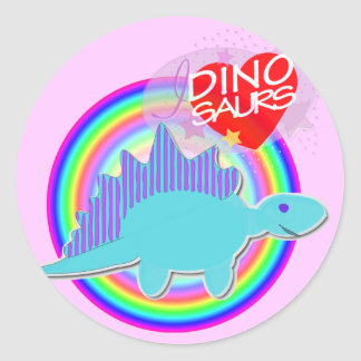 I love Dinosaurs Blue Dino Round Stickers
