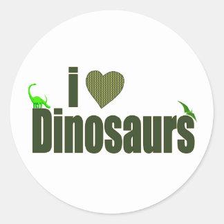 I Love Dinosaurs Classic Round Sticker