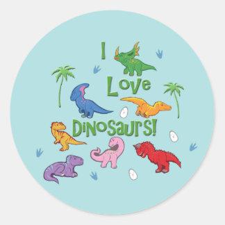 I Love Dinosaurs! (Cute) Round Sticker