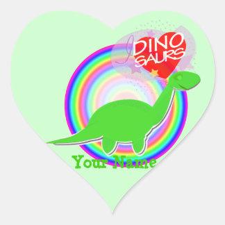 I love Dinosaurs Green Dinosaur Heart Stickers