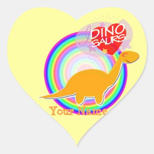 I love Dinosaurs Orange Dino Heart Name Stickers
