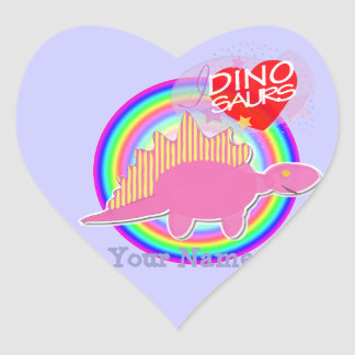 I love Dinosaurs Pink Dino Heart Name Stickers