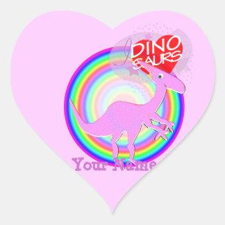 I love Dinosaurs Pink Dinosaur Heart Name Stickers