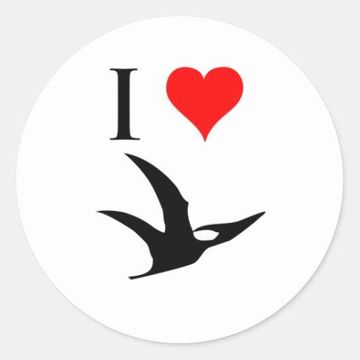 I Love Dinosaurs - Pterodactyl Round Sticker