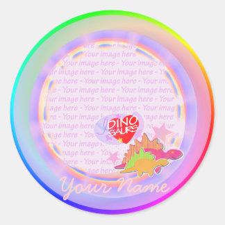 I love Dinosaurs Rainbow Custom Your Name Stickers