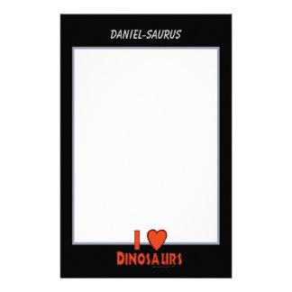I Love Dinosaurs Red Black and White Custom Paper