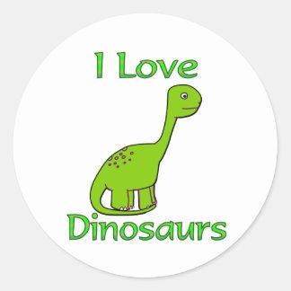 I Love Dinosaurs Round Sticker