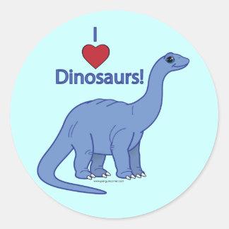 I Love Dinosaurs! Round Sticker
