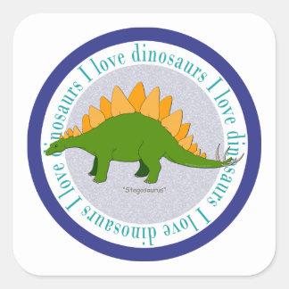 I Love Dinosaurs Stegosaurus Blue Square Sticker