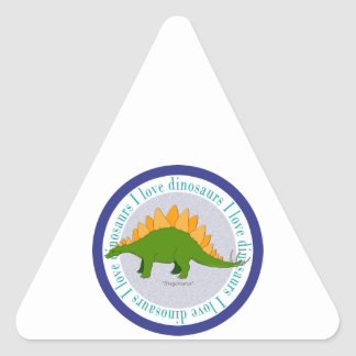 I Love Dinosaurs Stegosaurus Blue Triangle Sticker