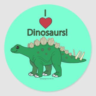 I Love Dinosaurs: Stegosaurus Round Sticker