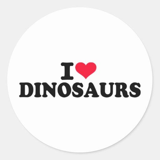 I love Dinosaurs Round Stickers
