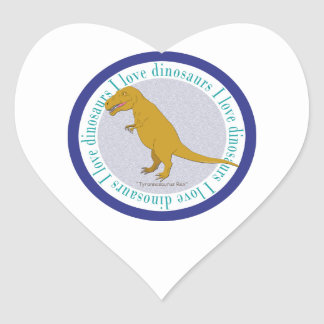 I Love Dinosaurs T-Rex Blue Heart Stickers