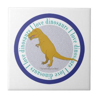 I Love Dinosaurs T-Rex Blue Tiles