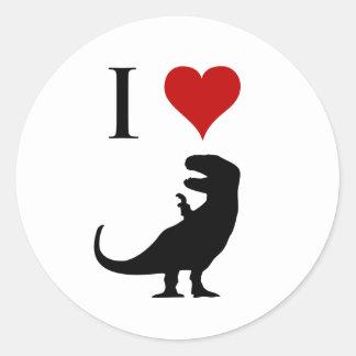 I Love Dinosaurs - T-Rex Round Sticker