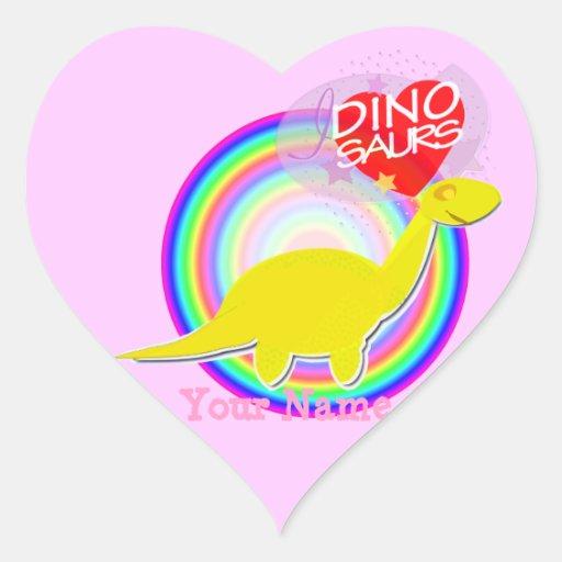 I love Dinosaurs Yellow Dino Heart Stickers