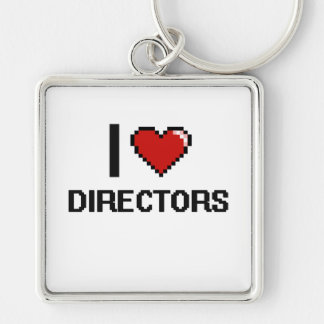 I love Directors Silver-Colored Square Key Ring
