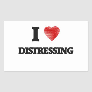 I love Distressing Rectangular Sticker