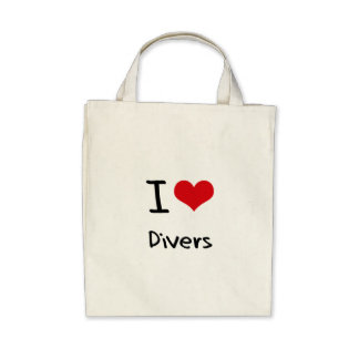 I Love Divers Tote Bags